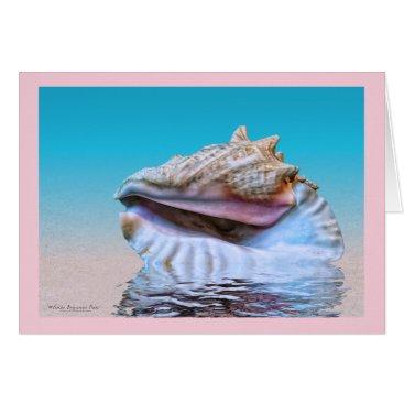 Beach Themed Queen Conch Sea Shell Pink Border Card