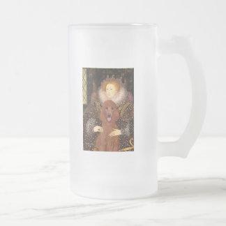 Queen - Dark Red Standard Poodle #1 Frosted Glass Beer Mug