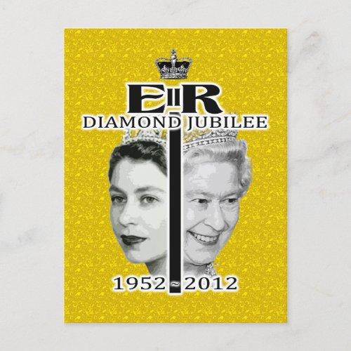 Queen Diamond Jubilee Gold Postcard postcards
