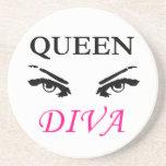 Queen Diva black & pink logo with feminine eyes Beverage Coasters