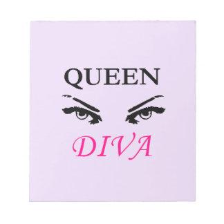 Queen Diva black & pink logo with feminine eyes Notepad