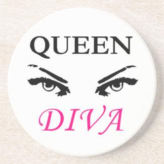 Queen Diva black & pink logo with feminine eyes Sandstone Coaster