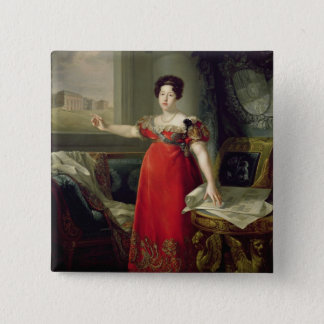 Queen Dona Maria Isabel de Braganza, 1829 (oil on Pinback Button