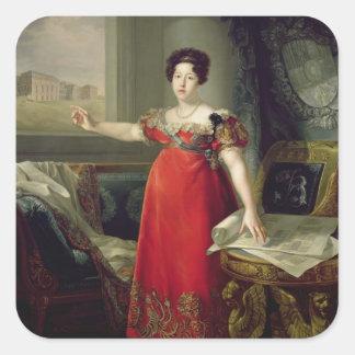 Queen Dona Maria Isabel de Braganza, 1829 (oil on Square Sticker