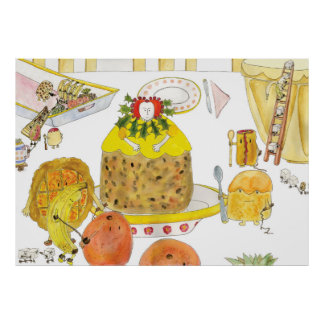 Queen Elizabeth 1st  of Puddings Funny Quirky Art Poster