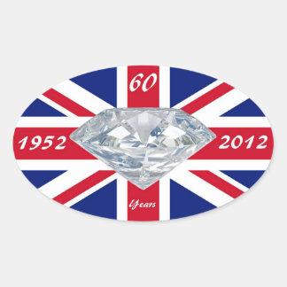 Queen Elizabeth 60 Year Jubilee Oval Sticker