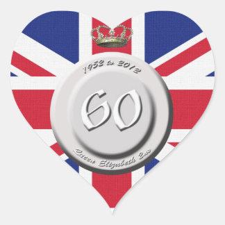 Queen Elizabeth 60 Year Jubilee Heart Stickers