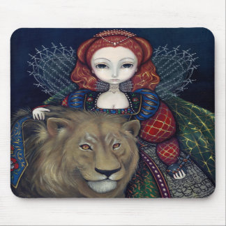 """Queen Elizabeth and a Lion"" Mousepad"