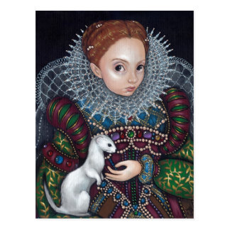 """Queen Elizabeth and an Ermine"" Postcard"