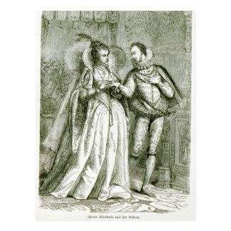 Queen Elizabeth and her Suitors Postcard