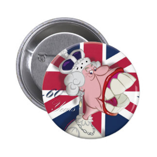 Queen Elizabeth Cartoon Button 60th Anniversary