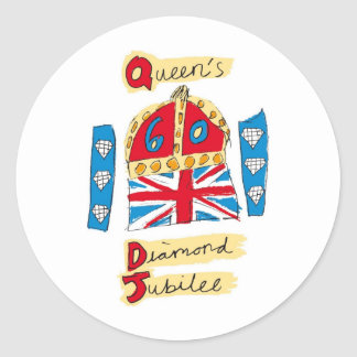 queen elizabeth diamond jubilee 2012 classic round sticker
