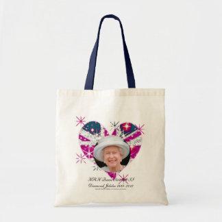 Queen Elizabeth Diamond Jubilee UK flag Tote Bags