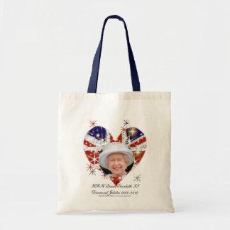 Queen Elizabeth Diamond Jubilee UK flag Canvas Bags