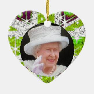 Queen Elizabeth Diamond Jubilee  UK flag Double-Sided Heart Ceramic Christmas Ornament