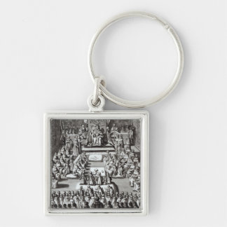 Queen Elizabeth I  and Parliament Silver-Colored Square Keychain