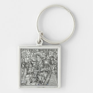 Queen Elizabeth I  at a stag hunt Keychain