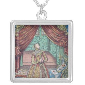 Queen Elizabeth I at Prayer, frontispiece Square Pendant Necklace