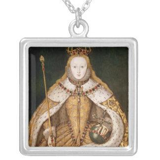 Queen Elizabeth I in Coronation Robes Square Pendant Necklace