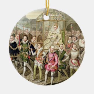 Queen Elizabeth I in procession with her Courtiers Ceramic Ornament
