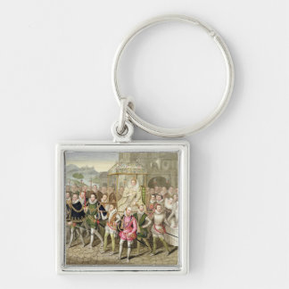 Queen Elizabeth I in procession with her Courtiers Silver-Colored Square Keychain