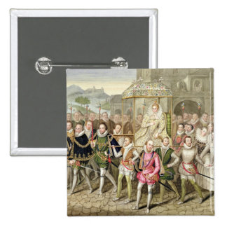 Queen Elizabeth I in procession with her Courtiers Pinback Button