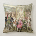 Queen Elizabeth I in procession with her Courtiers Throw Pillows