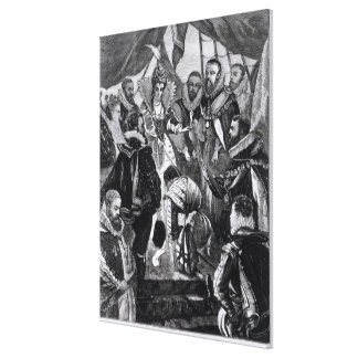 Queen Elizabeth I  Knighting Francis Drake Canvas Print