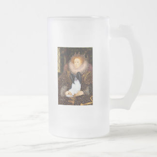 Queen Elizabeth I  - Papillon 1 Frosted Glass Beer Mug