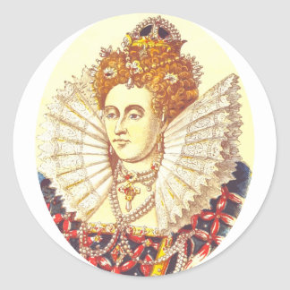 Queen Elizabeth I, QE1, The First Classic Round Sticker
