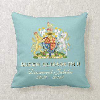 Queen Elizabeth II Diamond Jubilee Pillow (Aqua)