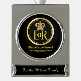 Queen Elizabeth II Longest Reign Silver Plated Banner Ornament