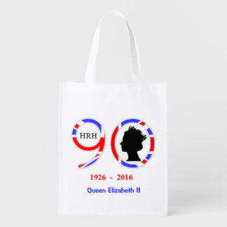 Queen Elizabeth II Of England 90th Birthday Grocery Bags