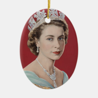 Queen Elizabeth II Queen of the United Kingdom Double-Sided Oval Ceramic Christmas Ornament