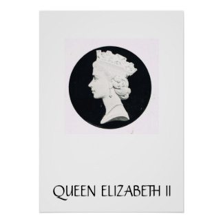 Queen Elizabeth II, relief drawing Poster