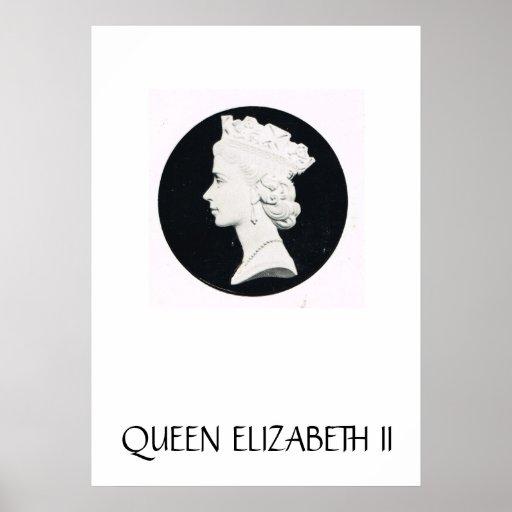 Queen Elizabeth II, relief drawing Posters