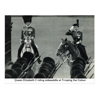 Queen Elizabeth II riding sidesaddle at Trroping t Postcard
