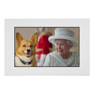Queen Elizabeth II shares a laugh with her Corgi Poster