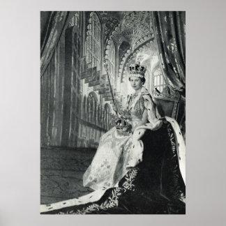 Queen Elizabeth II wearing coronation regalia Poster