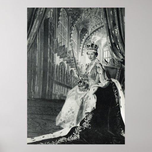 Queen Elizabeth II wearing coronation regalia Posters