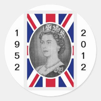 Queen Elizabeth Jubilee Portrait Classic Round Sticker