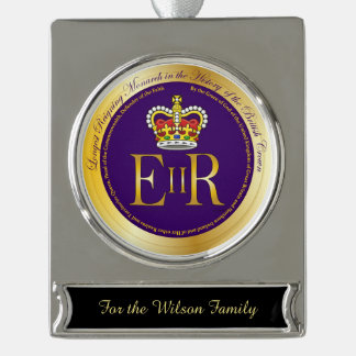 Queen Elizabeth Longest Reign Medal Silver Plated Banner Ornament
