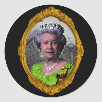 Queen Elizabeth Portrait in Frame Classic Round Sticker