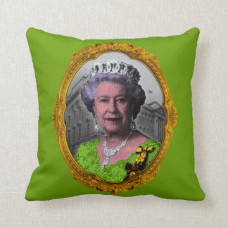 Queen Elizabeth Portrait in Frame Throw Pillow