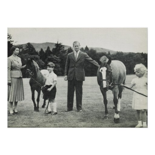 Queen Elizabeth , Prince Philip, Charles and Anne Poster