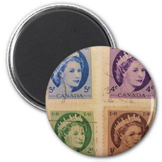Queen Elizabeth Vintage Stamps Magnet