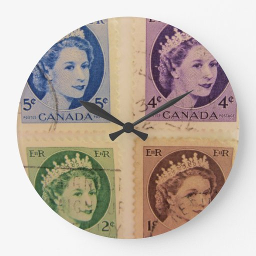 Queen Elizabeth Vintage Stamps Wall Clock