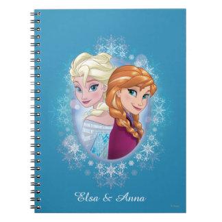 Queen Elsa and Princess Anna Spiral Notebook