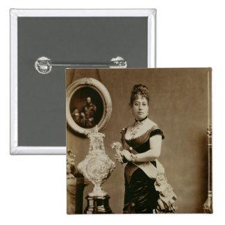Queen Emma (1836-85) (sepia photograph) Button