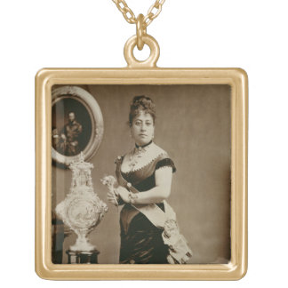 Queen Emma (1836-85) (sepia photograph) Gold Plated Necklace